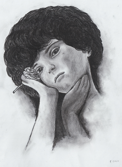 Charcoal self-portrait – charcoal on paper, 380 x 280 mm, 2011.