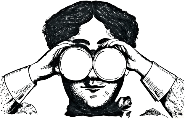 Binoculars – dip pen and ink, 125 x 200 mm, 2012.