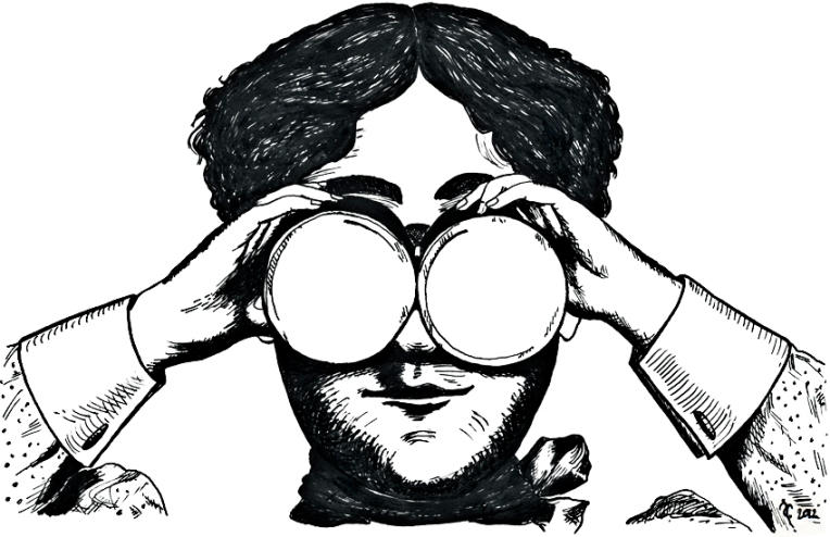 Binoculars – dip pen and ink, 125 x 200 mm, 2012.