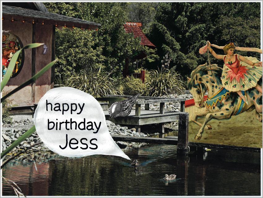 happy birthday Jess – mixed media, 190 x 255 mm, 2012.