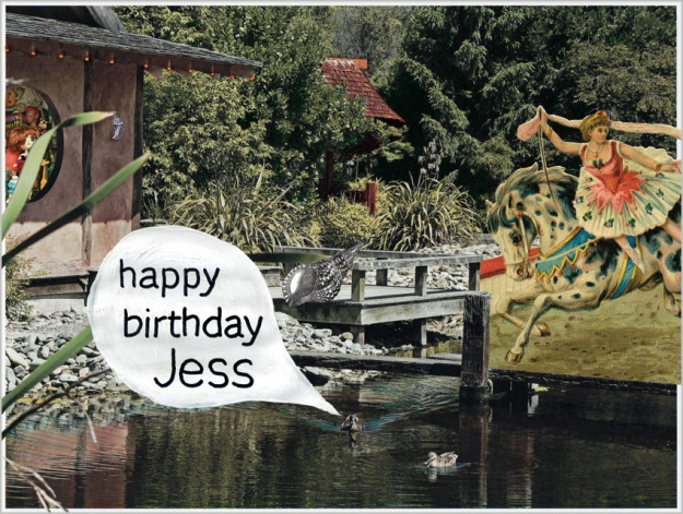 happy birthday Jess – mixed media, 190 x 255 mm, 2012.