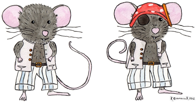 Pirate Mouse character design – ink, watercolour and gouache, 2012
