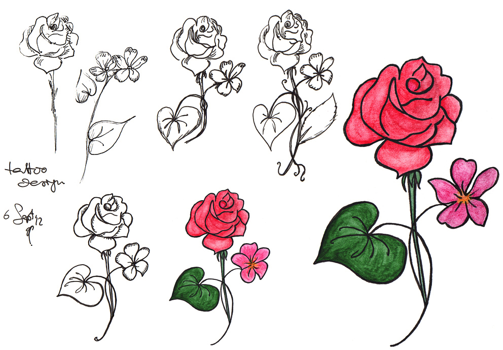Anna Cull rose and violet tattoo design   in the art cave