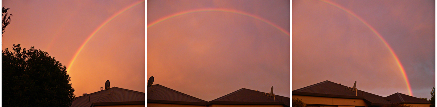 Double rainbow triptych – Christchurch, 2012.