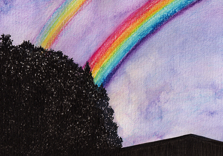 Double rainbow #1 – ink and watercolour, 2012.