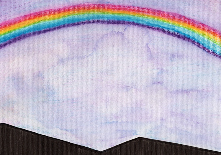 Double rainbow #2 – ink and watercolour, 2012.