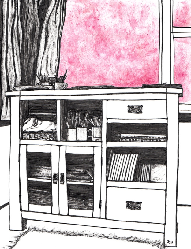 Room with a view – ink, watercolour and digital, 265 x 195 mm, 2013