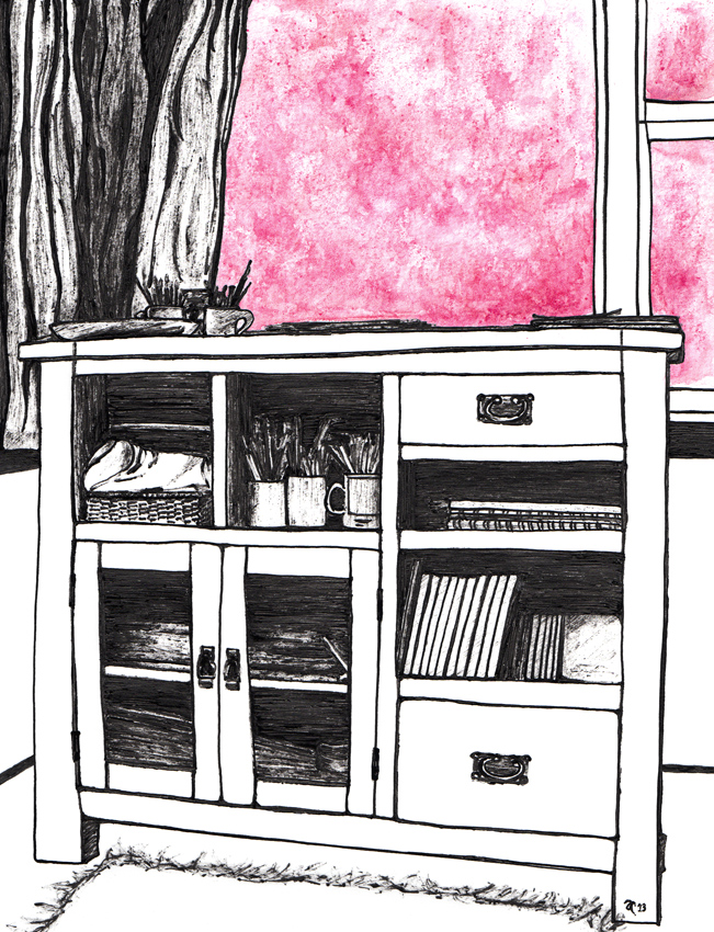 Room with a view – ink, watercolour and digital, 265 x 195 mm, 2013.