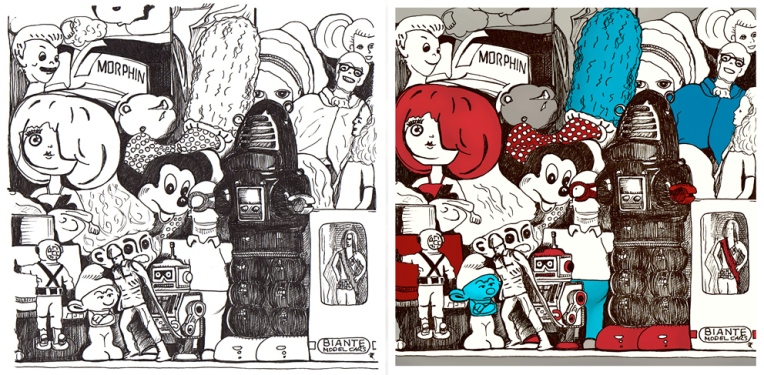 Toy museum – ink sketch and final image.