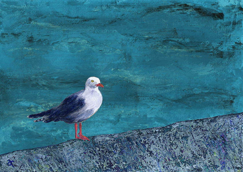 Blue (seagull #2) – mixed media, 205 x 290 mm, 2013.
