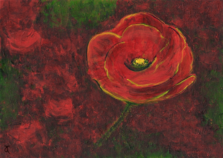 Poppy – acrylic on textured card, 210 x 295 mm, 2013.