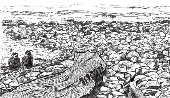 At the beach – ink on paper, 140 x 240 mm, 2013.