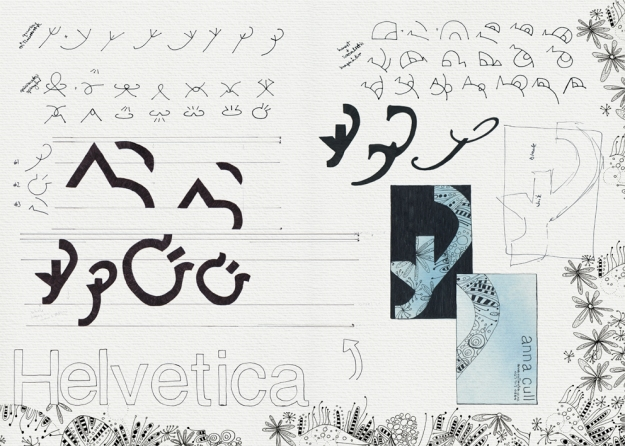Personal logo and business card – recreating the logo using parts of a single typeface   Visual diary, two-page spread – ink and digital, student project, 2010
