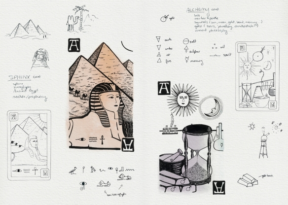 Playing cards 'Sphinx' and 'Alchemy' – refining the compositions and final illustrations  Visual diary, two-page spread – ink and digital, student project, 2010