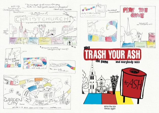 'Trash your ash – play the game and everybody wins' – sketches and final illustration  Visual diary, two-page spread (student project, 2011)