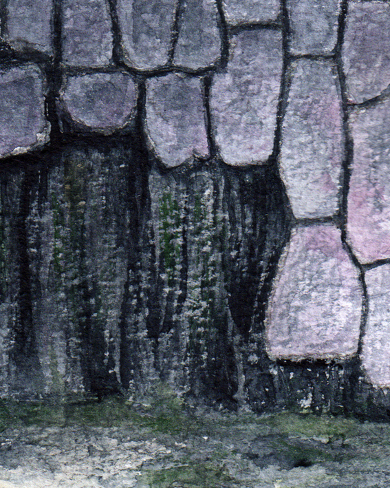 Harbour wall detail — the texture is a kind of 'dry brush' watercolour effect.