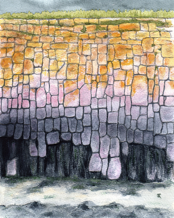 Harbour wall – graphite and watercolour, 255 x 205 mm, © Anna Cull 2013.