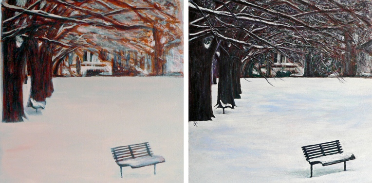 The colour of snow – underpainting and final painting.