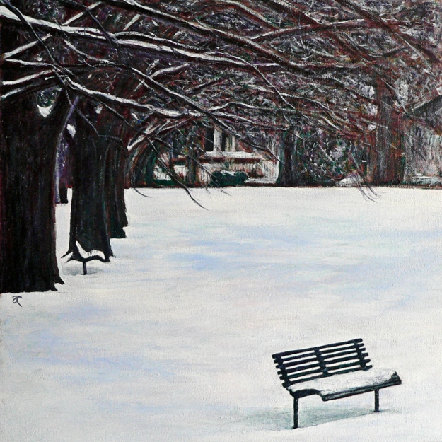 The colour of snow – acrylic on canvas, 315 x 315 mm, 2013.