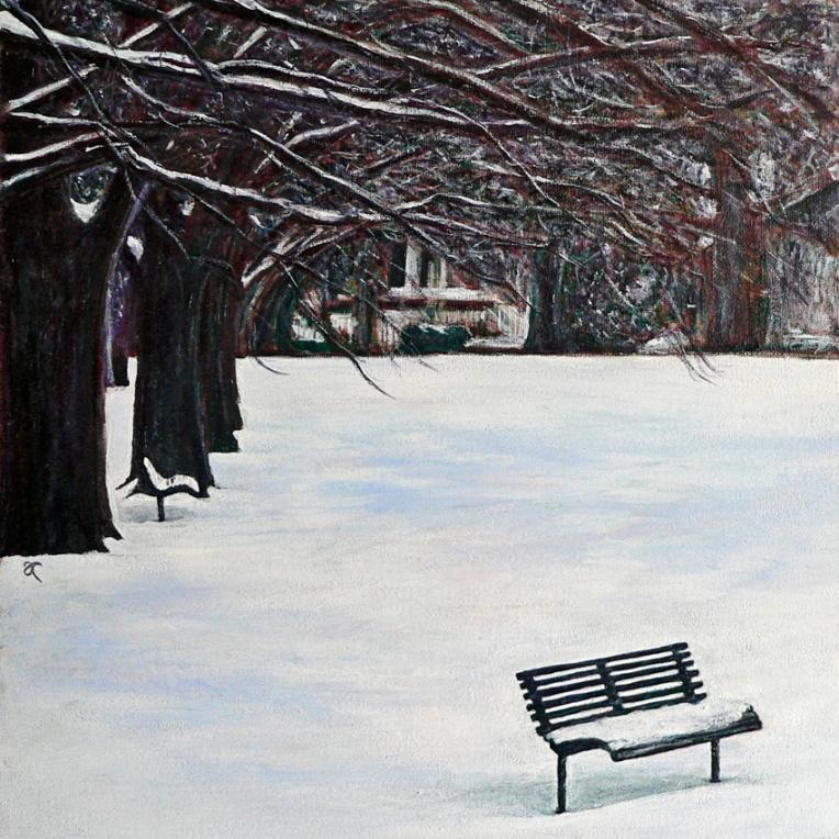 The colour of snow – acrylic on canvas, 315 x 315 mm, 2013.