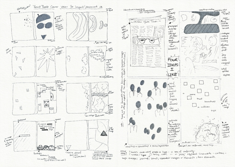 Beat book cover design – sketches and layout ideas  Visual diary, two-page spread (student project, 2011)