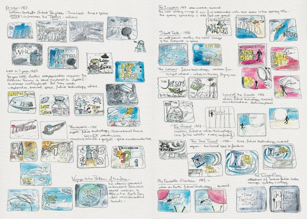 Science Fiction stamp design – sketches Visual diary, two-page spread  (student project, 2011)
