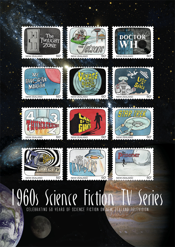 Science Fiction stamp poster (594 x 420 mm) Stars and planets (background collage) courtesy of the Internet Student project, 2011