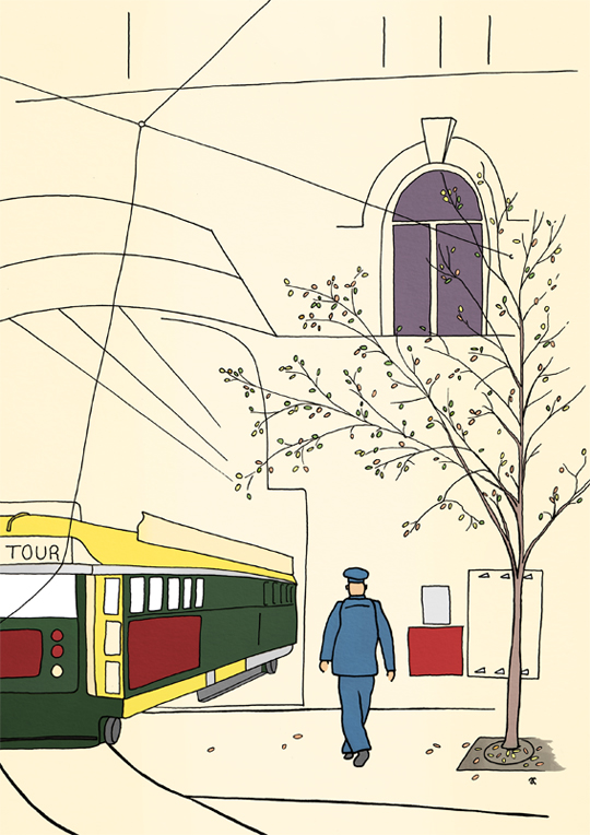 Tram – ink and digital, 297 x 210 mm, 2013 In the style of... Fougasse