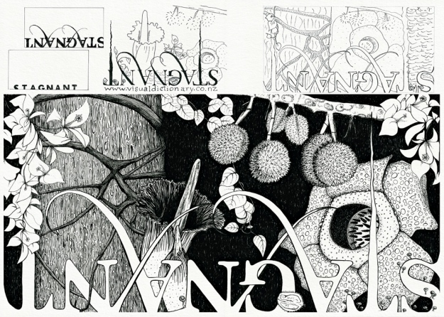 'Stagnant' billboard design – composition sketches and final illustration Visual diary, two-page spread (student project, 2011)