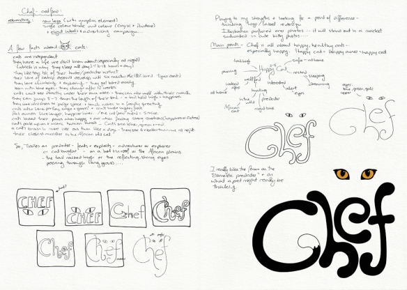 Chef logo, lables and rebranding campagin – research, concept development and final logo design  Visual diary, two-page spread (student project, 2011)