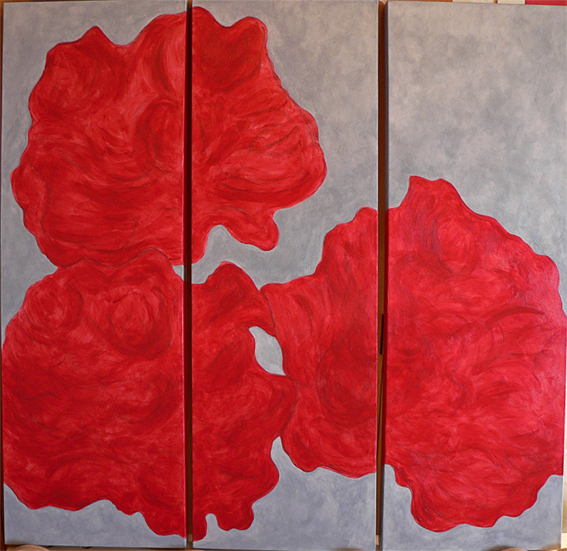 Peonies triptych (WIP #1) – acrylic on canvas