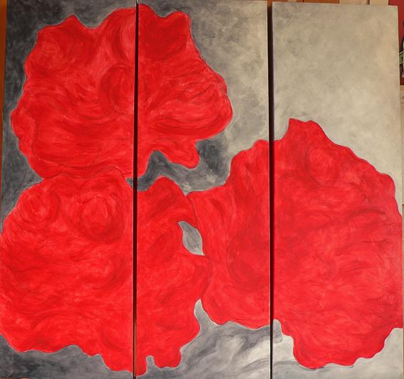 Peonies triptych (WIP #2)