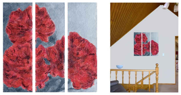 Peonies – acrylic sketch and triptych mock-up