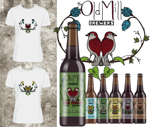 Old Mill Brewers tee shirts and bottles (digital mock-ups).