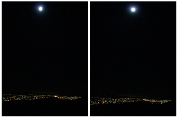 Moon over Christchurch – original photo, 2006 and edited photo, 2013.