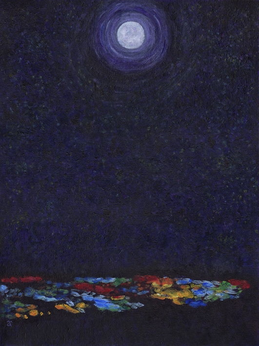 Moon over the city – acrylic on canvas, 505 x 405 mm, 2013