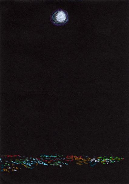 Moon sketch – Neocolor II pastel on black paper, 148 x 105 mm, 2013.