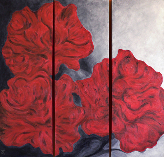 Peonies – acrylic on canvas (triptych: each panel 915 x 305 mm), 2013. Reproduced with kind permission of the client.