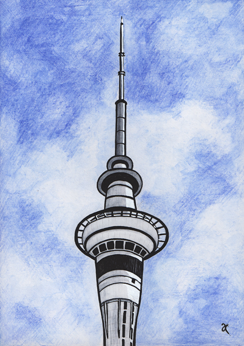 Sky Tower – watercolour and acrylic, 295 x 210 mm, 2013.