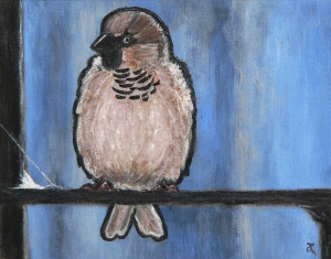 Sparrow – acrylic on canvas, 200 x 255 mm, 2013