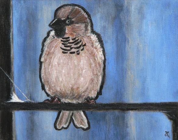 Sparrow – acrylic on canvas, 200 x 255 mm, 2013