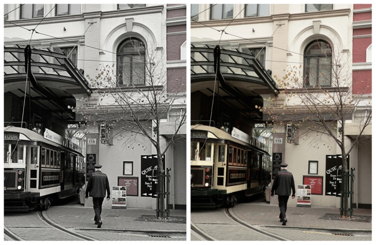 Tram (edited and unedited photos) – Christchurch, 2010