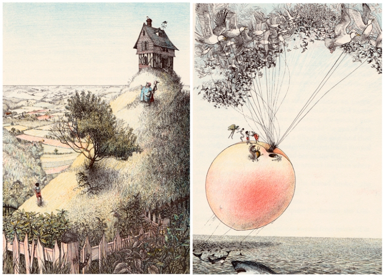 Nancy Ekholm Burkert – illustrations from James and the Giant Peach Images from http://myvintagebookcollectioninblogform.blogspot.co.nz