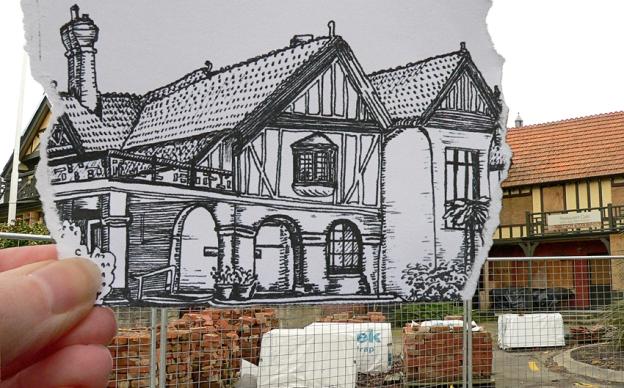 Pen vs earthquake sketch and photograph – Mona Vale, 2013