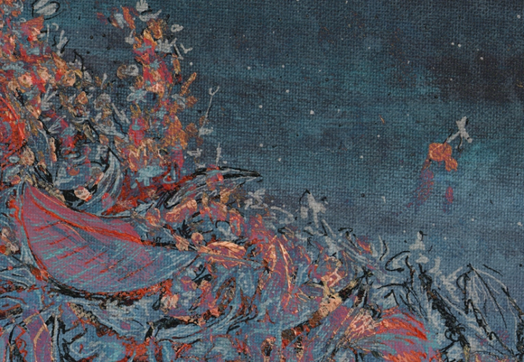 Autumn calling (blue, detail) – mixed media, 2013