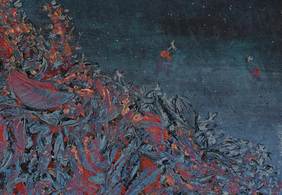 Autumn calling, blue – mixed media, 2013