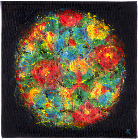 Exploding colour – acrylic on canvas, 255 x 255 mm, 2013
