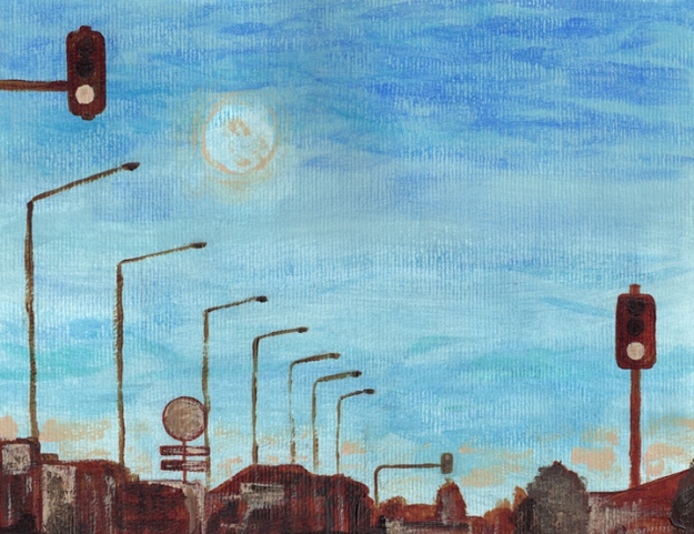 Moon over Moorhouse, WIP – underpainting