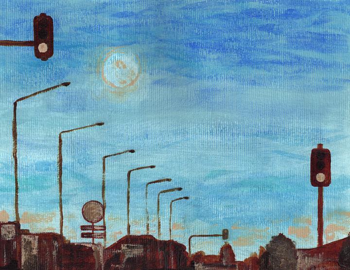 Moon over Moorhouse, WIP – underpainting