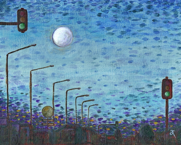 Moon over Moorhouse – acrylic on watercolour paper, 205 x 255 mm, 2013
